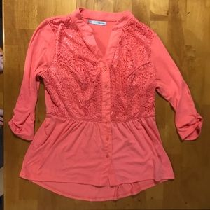 Coral Button Up Blouse